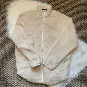 Express Sherpa Style Ivory Zipup Jacket Sweatshirt